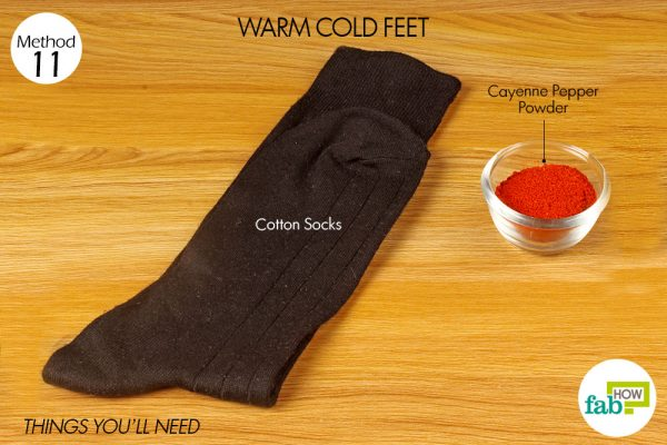 Things needed to use cayenne pepper to warm up cold feet