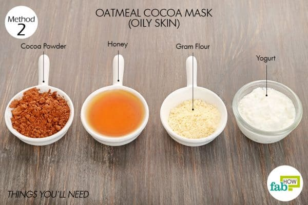 Things needed to make oatmeal-cocoa mask for glowing skin-oily skin