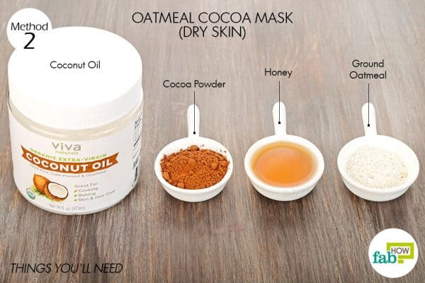 Things needed to make oatmeal-cocoa mask for glowing skin-dry skin