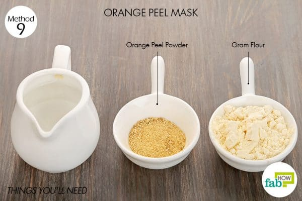 Things needed to make orange peel mask for glowing skin