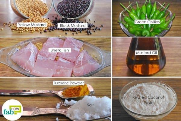 Things needed to make bhetki macher paturi, the most popular Bengali fish recipe
