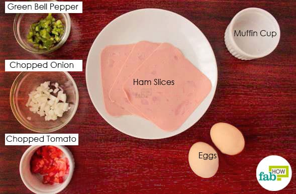 Things needed to make ham cups