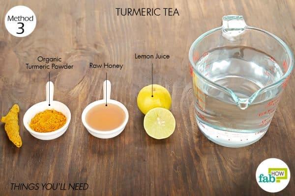 things you'll need to make tea to use turmeric for sore throat