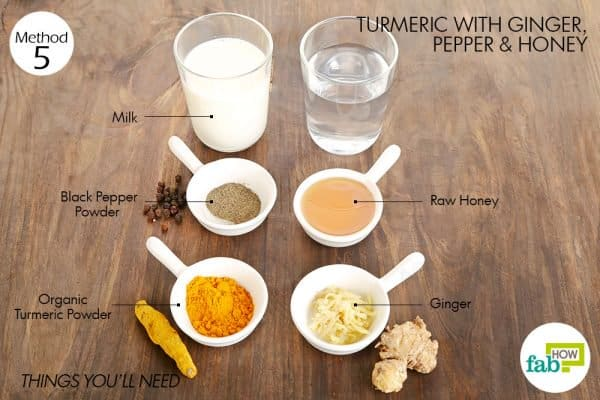 things you'll need to use turmeric for sore throat along with pepper and honey