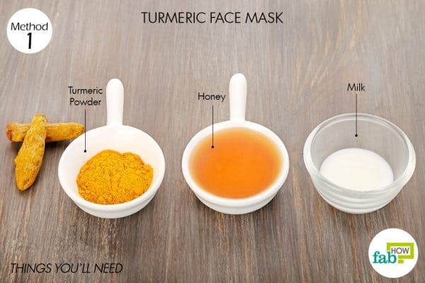 Things needed to make turmeric face mask for glowing skin