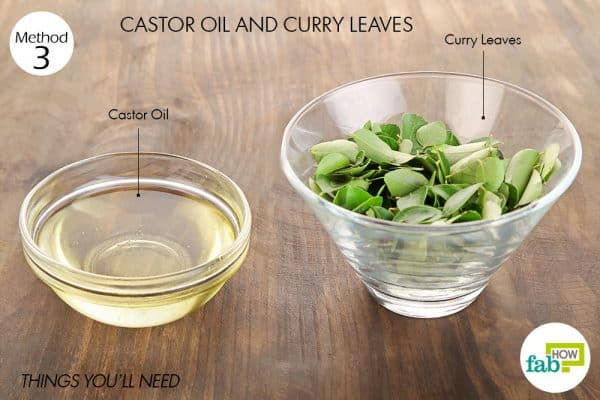 Things needed to use curry leaves and castor oil for hair growth