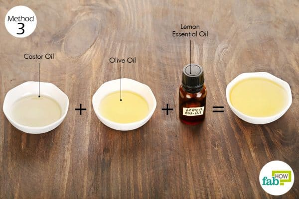 Use olive oil, lemon essential oil and castor oil for hair growth