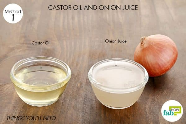 Things needed to use onion juice and castor oil for hair growth