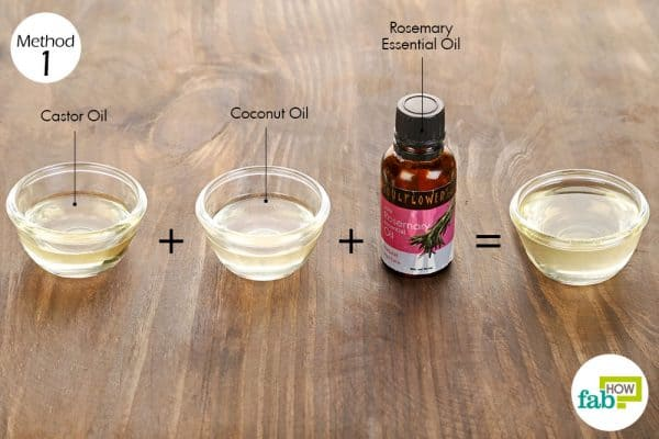 Use coconut oil, rosemary essential oil and castor oil for hair growth