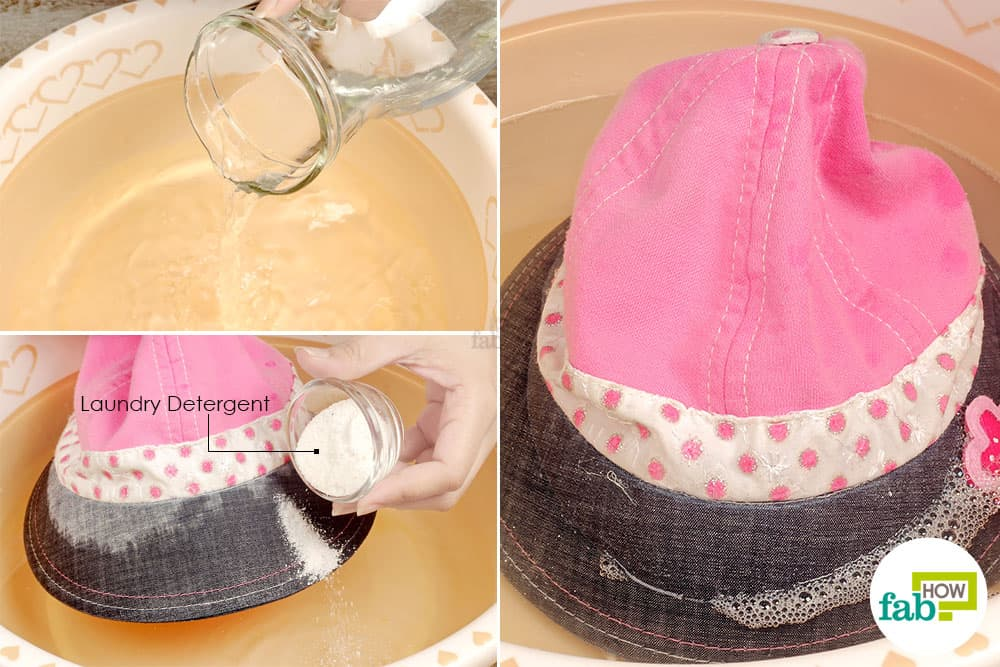 Soak your dirty cap in a soapy solution laundry hack