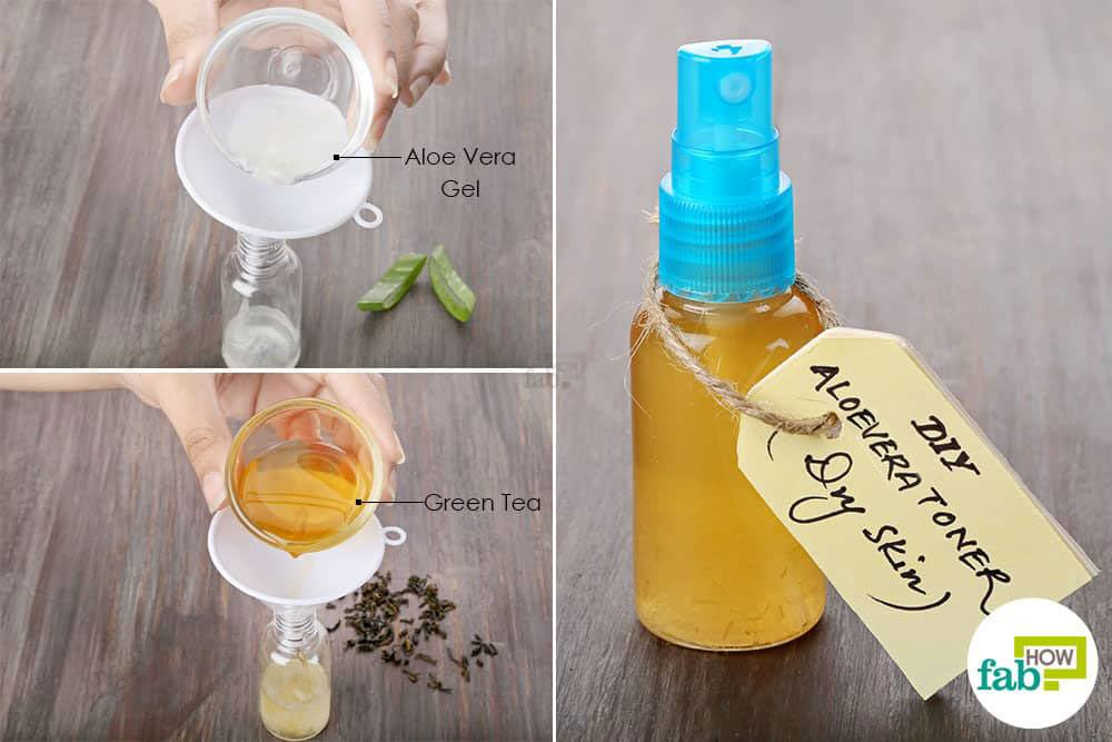 Best diy toner recipes for oily dry acne prone and normal skin mix brewed green tea with aloe vera gel to make diy facial toner for dry skin solutioingenieria Image collections
