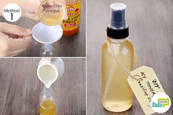 Dilute apple cider vinegar to make DIY facial toner for sensitive skin