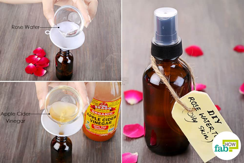 Mix rose water and apple cider vinegar to make DIY facial toner for oily  skin