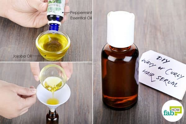 Combine jojoba oil with peppermint essential oil to make DIY hair serum for wavy or curly hair