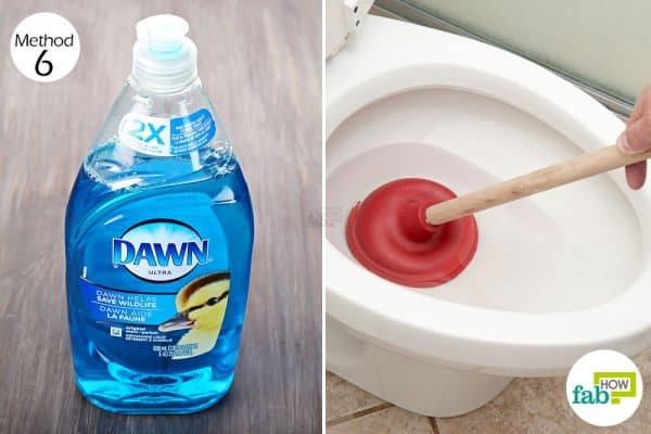 Use Dawn dish soap to clear out your clogged toilet
