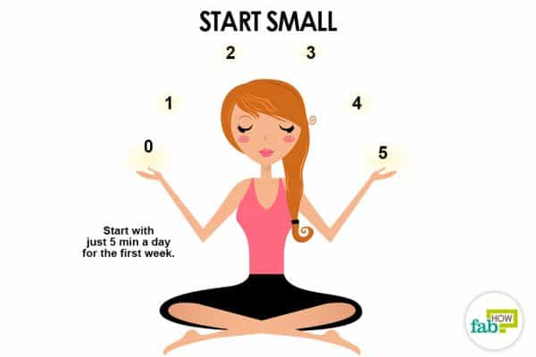 Start with just 5 minutes per day to start meditation for beginners