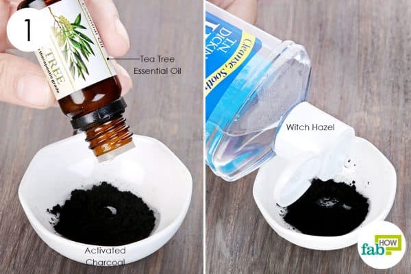 Combine activated charcoal, tea tree oil, and witch hazel in a container to use activated charcoal for health