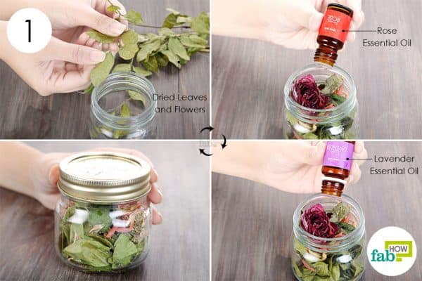 Mix the dried petals and leaves with essential oils in a jar to make DIY air freshener
