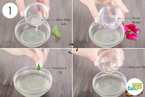 Use vitamin E oil with aloe vera gel, rose water and almond oil to get glowing skin