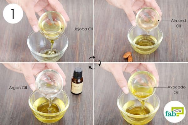 Combine jojoba, almond, avocado, and argan oil in a bowl to make DIY hair serum