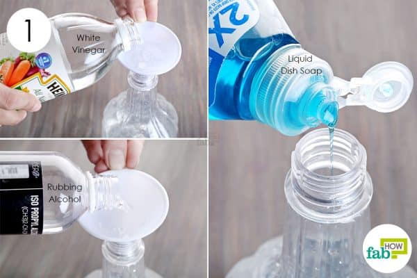 Combine white vinegar, rubbing alcohol and Dawn dish soap in a spray bottle