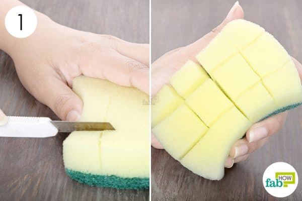 Cut slits in the sponge for greater flexibility- DIY kitchen sponge hacks