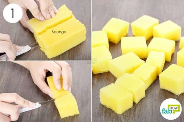 DIY kitchen sponghe hacks-cut a kichen sponge into small, square pieces