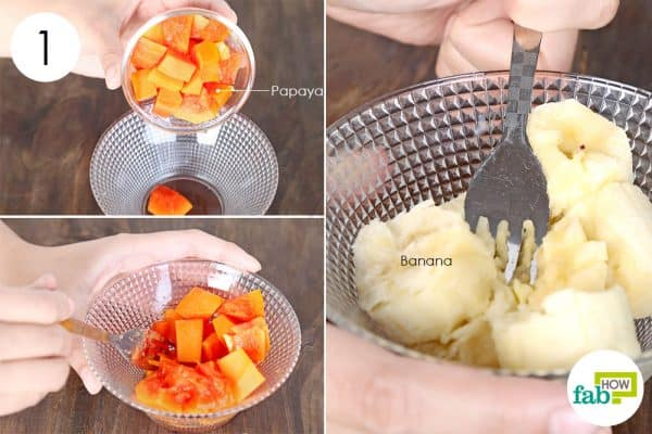 Mash papaya and banana to make face mask for beautiful skin