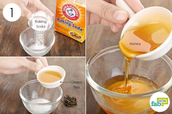 Add green tea and honey in baking soda for acne