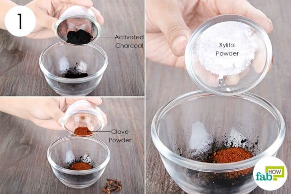 Combine activated charcoal, ground cloves, and Xylitol powder to use activated charcoal for health