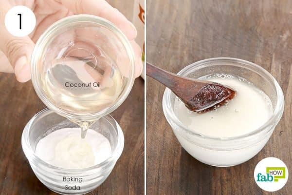 Add coconut oil to baking soda for acne