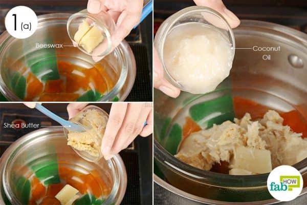 Melt and blend beeswax, shea butter, and coconut oil in a double boiler to use VItamin E oil for DIY hand salve