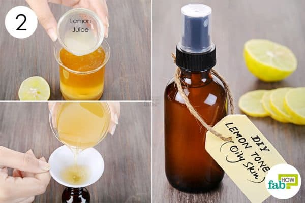 Add 1 tablespoon of fresh lemon juice to make DIY facial toner for oily skin