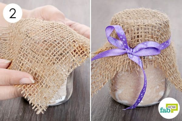 Cover the jar mouth with breathable fabric and tie a ribbon to make DIY air freshener