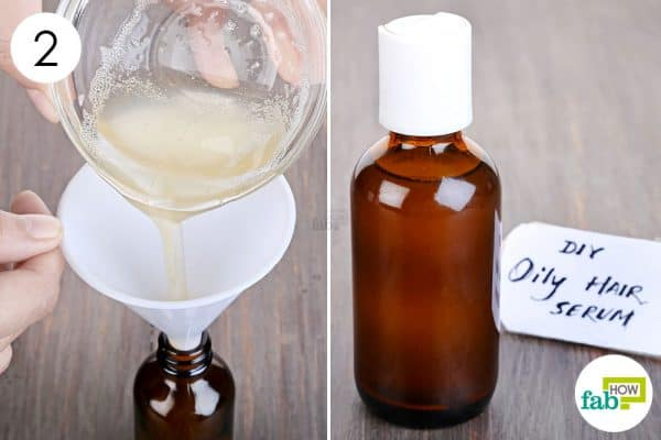 Transfer the prepared blend into a dark bottle and use as DIY hair serum