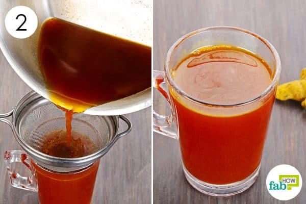 Strain the solution into a cup & drink it to use turmeric for psoriasis
