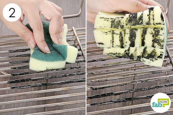 DIY kitchen sponge hacks-make grooved sponge to clean your charcoal/oven grill