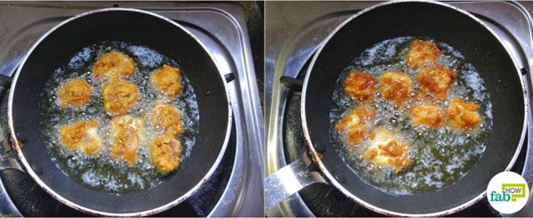 fry to make chicken popcorn