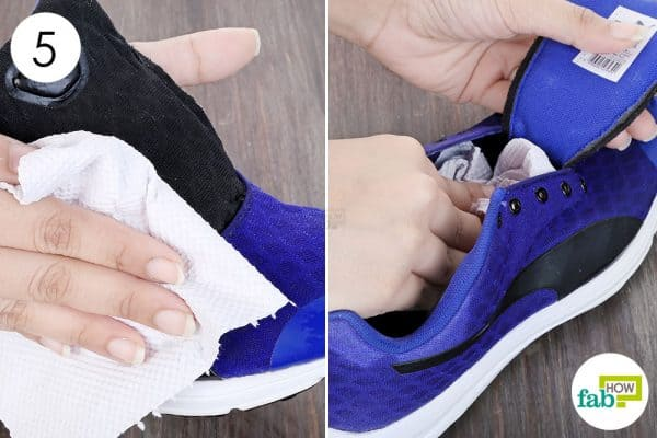 Use paper towels to clean your running shoes