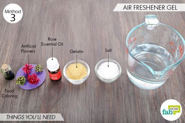 Things needed to make DIY air freshener gel