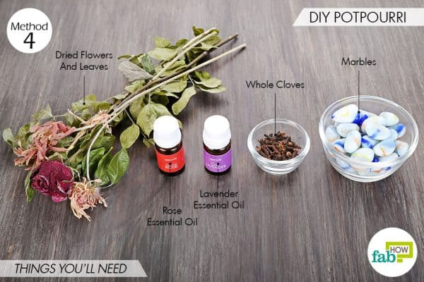 Things needed to make DIY air freshener-potpourri