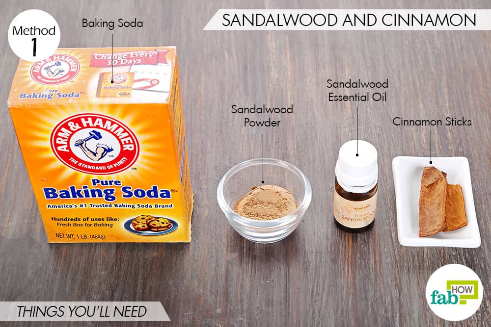 Things needed to make DIY air freshener with sandalwood and cinnamon