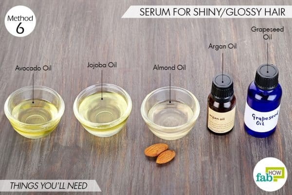 Things needed to make DIY hair serum for glossy/shiny hair