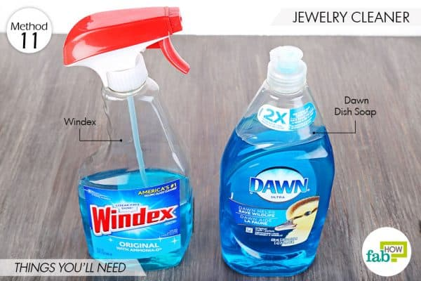Things needed to use Dawn dish soap to make jewelry cleaner