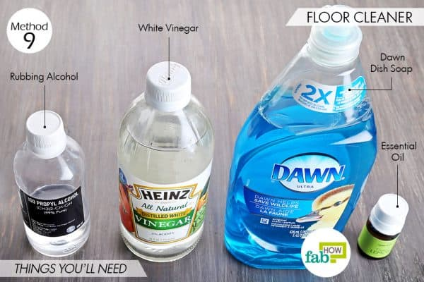Things needed to use Dawn dish soap to make floor cleaner