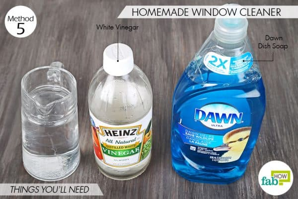 Things needed to use Dawn dish soap to make homemade window cleaner