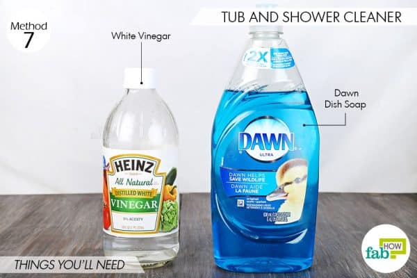 Things needed to use Dawn dish soap to make tub and shower cleaner