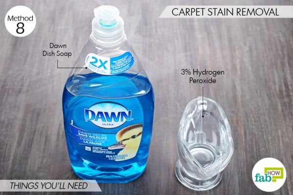 Things needed to use Dawn dish soap to remove stains from carpet