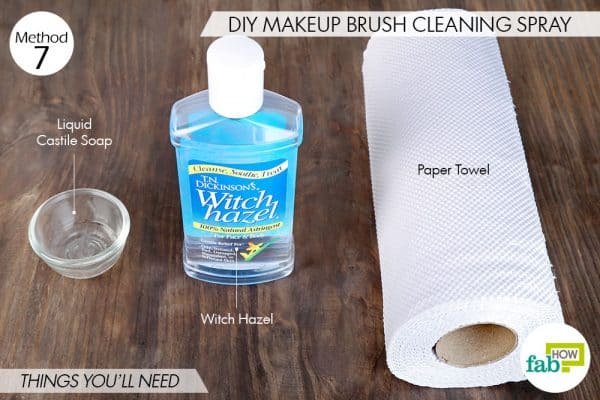 Things needed to use witch hazel around the house by making makeup brush cleaning spray