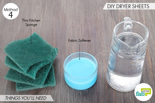 Things needed for DIY kitchen sponge hacks to make DIY sponge dryer sheets